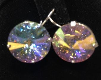 12mm Drop leaver back crystal earrings