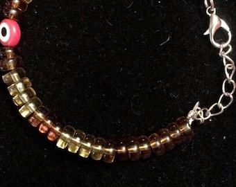 Amber & Red Evil Eye Bracelet