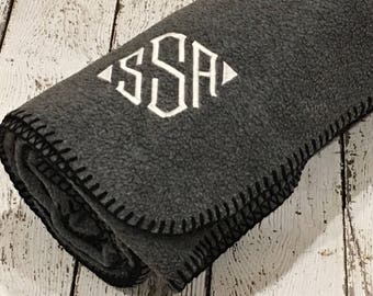 Embroidered Charcoal Deluxe Throw Blanket - babies, monogram, gift