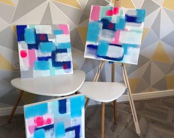 Original Acrylic Artwork - Blue, Pink, White, Green