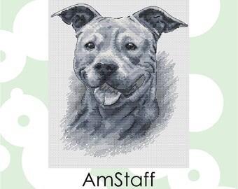 "Cross stitch pattern ""AmStaff"" Cross Stitch Instant Download PDF Modern Crossstitch Pattern"