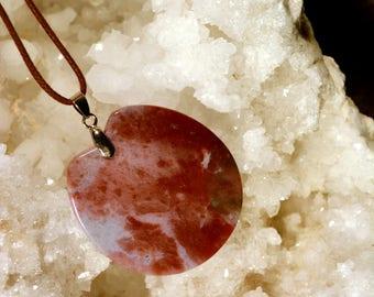 N215 round blood agate pendant