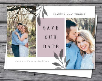 Save the Date Announcement, Save the Date Magnet, Save the Date Postcard, Leafy Save the Date Announcement