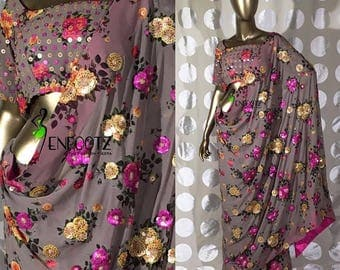 Georgette floral embroidery saree