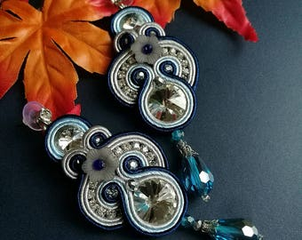 Elegant Clear and Sapphire Crystal Soutache Earrings Statement Wedding Earrings Dangle Ethnic Boho Chic Blue and White Earrings