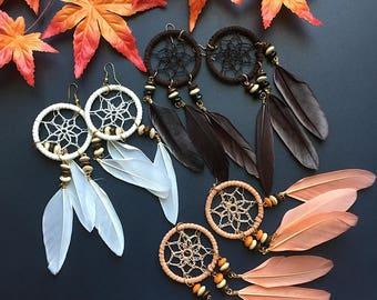 Ethnic Tribal Boho Earrings long Dangle Drop Unique Chic Dream Catcher Feather Beads Earrings Bohemain Indy Statement Earrings