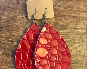 Red reptile faux leather drop earrings with bronze accents