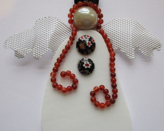 """White 5.5"""" Stained Glass Red Headed Angel One of a kind Handcrafted Beading Black Glass buttons Silver Mesh Wings Christmas Hostess Gift"""