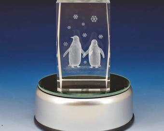 3D Glass Laser Cube - Two Penguins