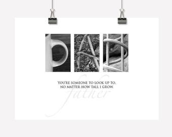 Dad Gift Inspirational Wall Art Decor Photographic Lettering Downloadable Printable PDF