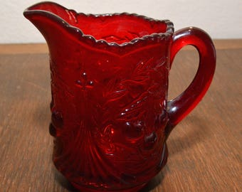 Vintage LG Wright for Fenton Cherry Wreath Creamer