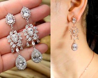 Bridal earrings bridal jewelry set Crystal Earring Bridesmaid Jewelry Rose Gold crystal Bridal Jewelry Vintage Rose Bridesmaid Earrings
