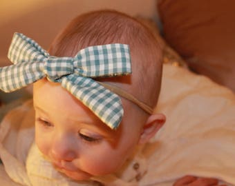 Blue and white gingham bow