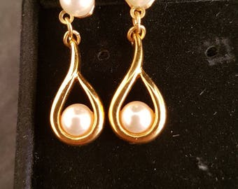 Napier Gold Tone and Faux Pearl Tear Drop Earrings