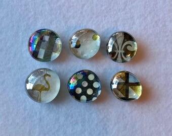 Gold, Black, and White Saints - Decorative Refrigerator Magnets- Set of 6 Large