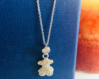 Teddy Bear Cubic Zirconia Silver Pendant and Chain