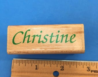 Christine, Wood Mount Rubber Stamp