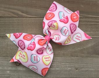 "VALENTINE CONVERSATION HEARTS 7"" Bow"