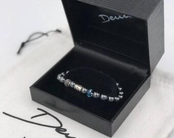 925 silver bracelet with 8 mm hematite stone