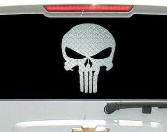 Diamond Plate Military Punisher Skull