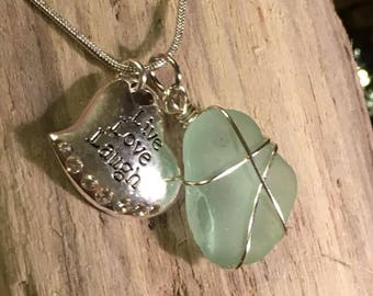 Light aqua beach glass live,laugh, love charm necklace
