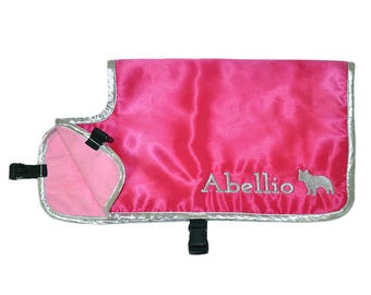 Dog Cooling Coat, cooling vest for dogs, cooler jacket, cool coat, pink satin, synthetic chamois, free embroidery, conformation show agility