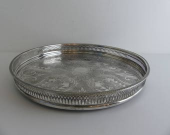 Vintage round galleried silver plated tray English made (EI7)