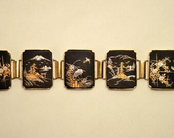 Vintage Japanese Damascene Panel Bracelet