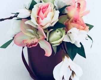 Artificial flower arrangement, wedding, home decor, pastel colors in a box Roses