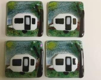 Set of 4 Fused Glass Caravan Coasters