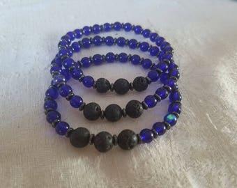 Lava (8mm) and Glass(6mm) bead defusing bracelets