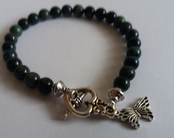 Gemstone Bracelet - With Green/Black Kambaba 6 mm Jasper beads and silver tone beads, heart toggle clasp and butterfly charm 19.5 cm