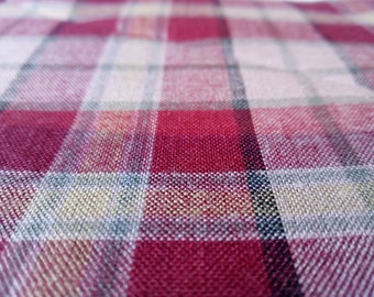 "Woven 100% Cotton Red, Beige & Yellow Tartan Fabric Sample 44"" x 27"""
