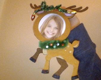 handmade reindeer picture ornament holder