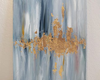 "Abstract Painting with Gold Leaf Detailing; Blue, White and Gold Acrylic on 9"" x 12"" Canvas"