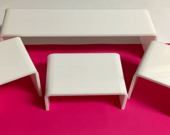 "White Acrylic Risers - 3"" high x 3"" long x 3.5"" deep - set of 4"