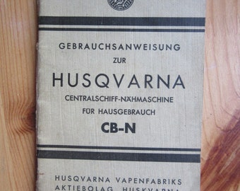 old HUSQVARNA sewing Machine Instruction - Manual from y 1934  on German language