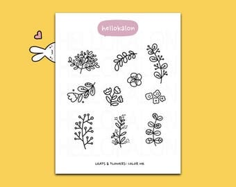leaves and flowers. color me stickers. decorative stickers. planner stickers. bullet journal stickers, erin condren (t003)