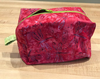 Pink Chartreuse Dragon Fly Cosmetic Bag