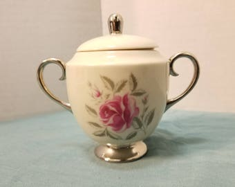 "Flintridge China Rose Sugar Bowl with Lid 4.5"" tall"