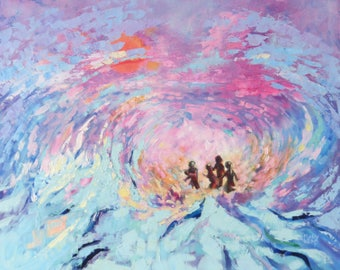 "Contemporary Oil Painting. Modern Art 24"" x 20"" ""No Child was Hurt in the Making of This Painting"" Children at the Seaside."