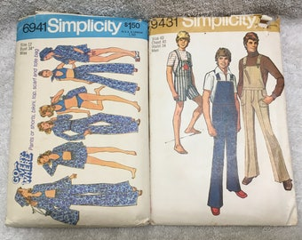 Vintage Simplicity Sewing Patterns 6941 & 9431 Bell Bottoms Flared Leg
