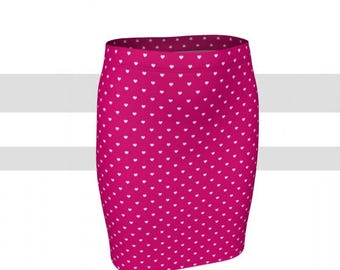 Hot pink with white polka dots fitted skirt, pencil skirt
