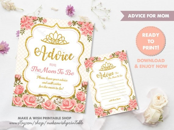 princess baby shower advice for mom to be card sign floral baby