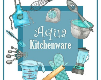 Watercolor Clipart Set - Aqua Kitchenware - Baking/Cooking Utensils (Blue)