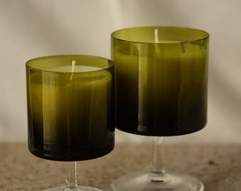 Pine Scented Green Candles with White Wax- Set of Two