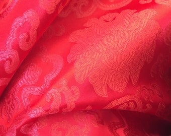 Adelaide RED Chinese Brocade Satin Fabric by the Yard - 10058