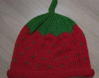 Child's knitted strawberry hat, suit toddler approximately 2 years plus.