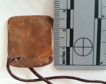 Hammered, copper, square, metal work.