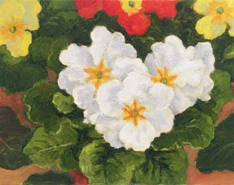 Small floral painting of Primroses